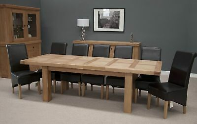 Solid Chunky Oak Large Extending Dining Table