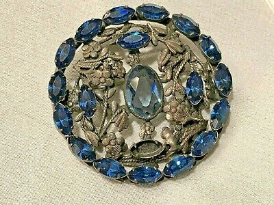 ANTIQUE BLUE MARQUISE GEMSTONES Pewter clr FLORAL DESIGN PIN BROOCH ART NOUVEAU