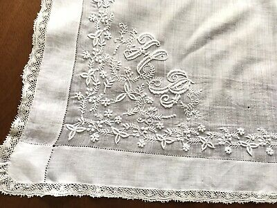 Antique Hand Embroidered Initial HR Large White Lawn Lace Wedding Handkerchief