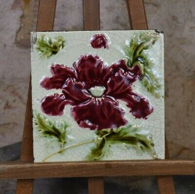 Antique Victorian Original Art Nouveau Majolica Tiles Wall Minton Style Flower