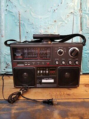 ELECTRO BRAND 2971 Boombox Cassette Player CB Radio World Band Radio Microphone
