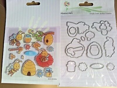15 Clear Stamps + Metal Cutting Dies Beehive Bee Honeycomb Flower Honey Pot Tree