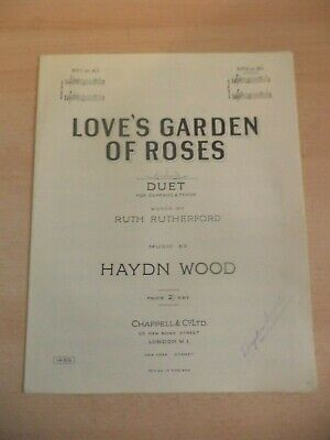 loves garden of roses duet in b OLD ANTIQUE PIANO SHEET MUSIC SONG haydn wood