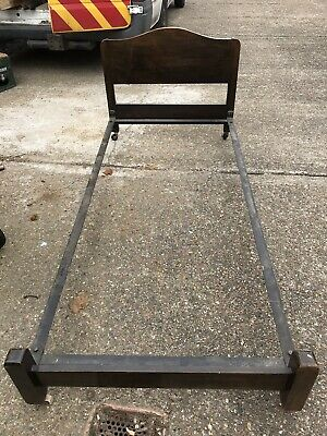 Vono Single Bed Frame 1930s Poss Mahogony Complete With Castors Vintage
