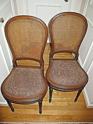 Dining Room Side Chairs: Cane Back, Fabric Seat, Wood Frame - Pickup ONLY 20817