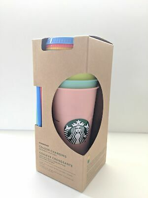 New Starbucks Reusable COLOR CHANGING Cold Cup Collection Pack Of 5 Lids Straws