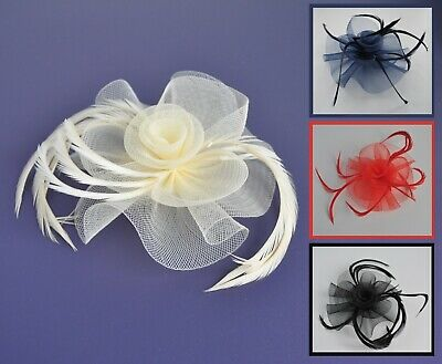 Wedding/races fascinator hair clip/corsage. Mesh/net/crinoline flower & feathers