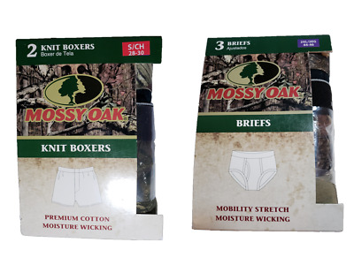 *NIP - MOSSY OAK - MEN'S 2-PK KINIT BOXERS or 3-PK BRIEFS - MOISTURE WICKING