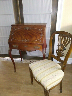 Antique French Louis XV Cherry Drop Leaf Secretary Desk With Chair