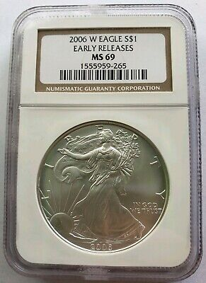 2006-W 1 Oz Silver $1 BURNISHED EAGLE NGC MS69 Early Release Coin, Brown Label.