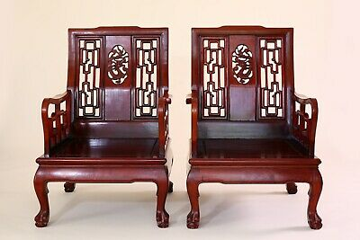 Chinese Rosewood Arm Chairs