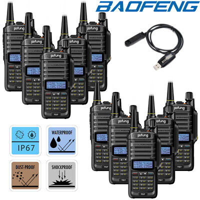 10x Baofeng Walkie Talkies UHF VHF Two Way FM IP67 Waterproof Radio + USB Cable