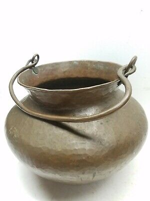 Large Arts and Crafts hand hammered copper cauldron With Handle original