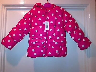 BNWT F & F  Girls Hot Pink Polka Dot Coat Age 4-5 yrs