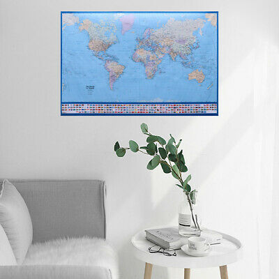 50x70CM Large World Map Poster Map Home Wall Decor with Country Flags