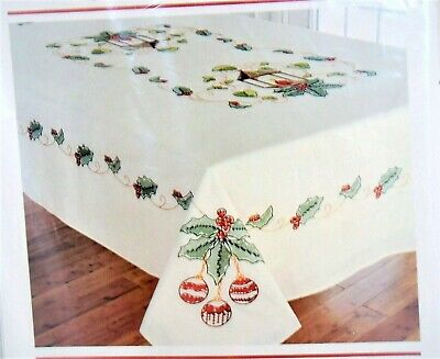 """DUFTIN """"HOLIDAY GREETINGS"""" Tablecloth Stamped Cross Stitch Kit 50 x 68 w/ Floss"""