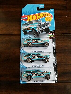 "3 Hot Wheels 64 Nova Wagon Gassers ""Jerry Rigged"""