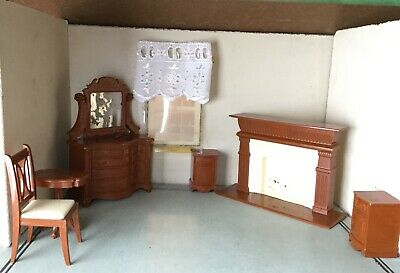 RELIABLE CANADA VINTAGE DOLLHOUSE FURNITURE-Chair, Tables, Fireplace, Dresser
