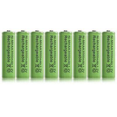 8pcs Ni-MH AA 3000mah 1.2V Rechargeable Batteries Battery Nickel Hydride RC1026