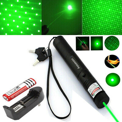 Military 532nm 5mw Laser Pointer Lazer Pen Beam 18650 battery Dual Charger Green
