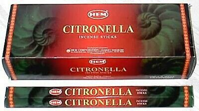 40 Incense Sticks - CITRONELLA -HEM BRAND - 5 Sq Boxes x 8 Sticks - Fresh Stock