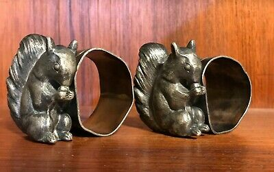 Pair Of Barbour Silver Co Squirrel #7 Quadruple Plate Silver Napkin Holder Rings