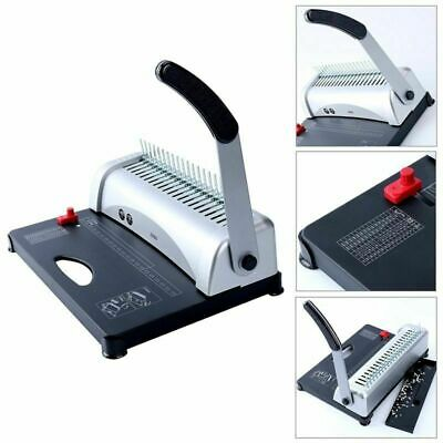Black 450 Sheets Office Paper Punch Binder Comb Binding Machine 21 Hole AU