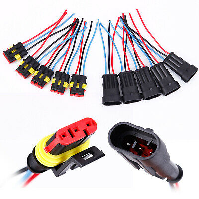 Waterproof Electrical Wire Cable Automotive Connector Way Plug Kit 2 3 4 Pin New