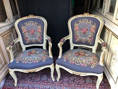 Rare! New condition! French Antique Needlepoint Chair Armchair Furniture living