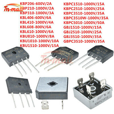 5/10PCS 2-50A 600-1000V Metal Case Single Phases KBPC5010 Diode Bridge Rectifier