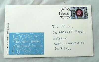 First day cover FDC Silver Jubilee 9p stamp 1977 Darlington postmark