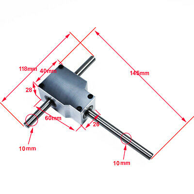 DIY 90° Worm Right Angle Gearbox Speed Reducer Transmission Ratio 1:1 Shaft 10mm