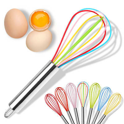 Silicone Mini Whisk Wisk Stainless Steel Utensil Kitchen Baking Professional Nd