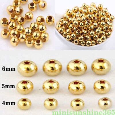 20/50PCS Gold Plated Beads Metal Round Loose Spacer Jewelry Making DIY Craft