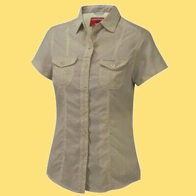 CRAGHOPPERS. Damen Frauen Outdoor Hemd Shirt Bluse WOMEN'S NOSILIFE DARLA, beige