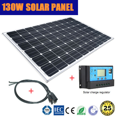 130W 12V Mono Solar Panel Home Caravan 4Wd Battery Charging + 2M Cable Regulator