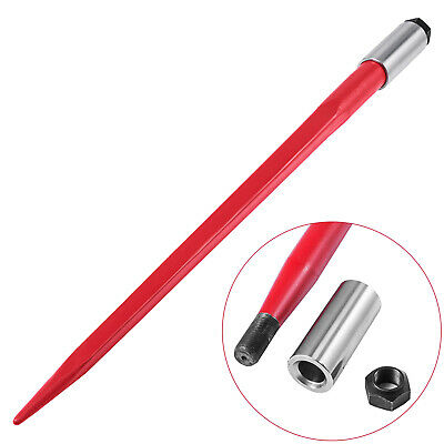 """43"""" 3000 lbs Capacity Square Hay Bale Spear Red 1 3/4""""Wide Tine Sleeve Nut"""