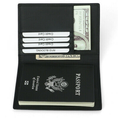 Men Woman Slim RFID Blocking Leather Passport Card Holder Travel Bifold Wallet