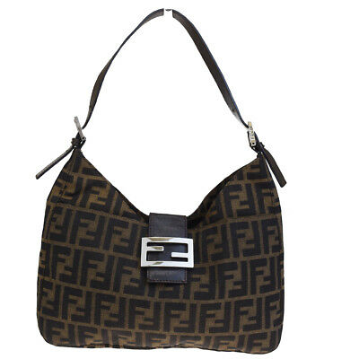 3071a69efd1d Authentic FENDI Zucca Pattern Shoulder Bag Canvas Leather Brown Italy 61E081