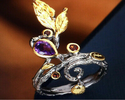 Exquisite 925 Silver Amethyst Leaf Ring Women Wedding Party Jewelry Happiness