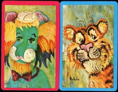 Beautiful Vintage Swap Cards Tiger And Lion Paintings Brand New