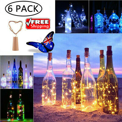 6Pcs LED Copper Wine Bottle Lights Cork Shaped Fairy String Light Garden Decor