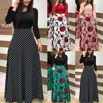 UK Womens Floral Long Maxi Dress Ladies Evening Party Cocktail Summer Dresses