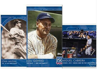 2019 Topps 150 Years of Baseball #25 Stan Musial #26 Cabrera #27 Lou Gehrig Lot
