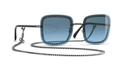 82b683c512cf CHANEL 4244 Square Dark Silver Frame Blue Lens with Chain Sunglasses %100  Auth