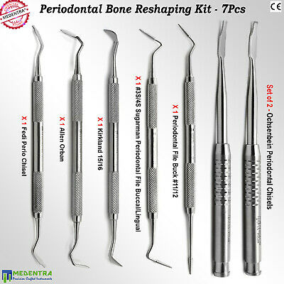 Dentist Periodontal Surgery Kit Perio Knife Files Bone-Reshaping Chisels 7Piece