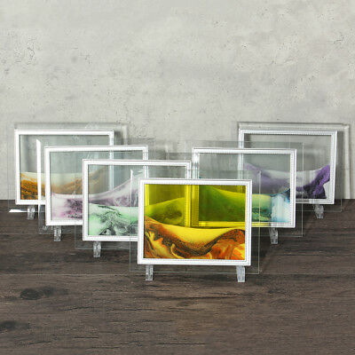 22X17CM Framed Moving Sand Time Glass Picture Home Office Desk Decor Craft Gifts