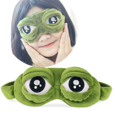Cute Green frog Eyes Cover Sad 3D Eye Mask Cover Sleeping Rest Anime Funny Gift
