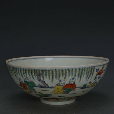 "11"" Chinese antique Porcelain Ming chenghua doucai Hand painting Children bowl"