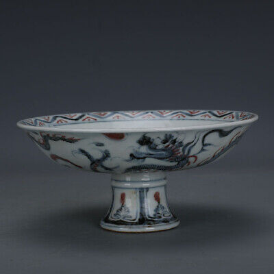 "8"" Chinese antique Porcelain Ming jianwen mark blue white dragon High foot bowl"